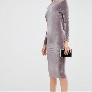 👗ASOS👗 long sleeve velvet wrap back midi dress.